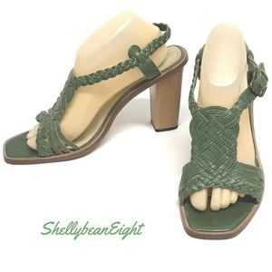 "FRYE ""Rose"" Woven T Strap Sandals Heels 11 GREEN"